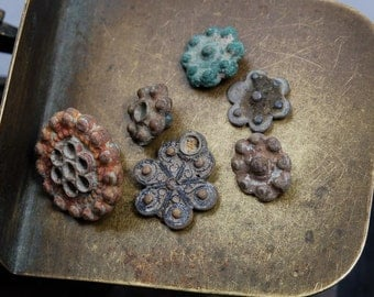 Set of 6 Antique metal parts of old cuff links, buttons, plates, charms, dark patina