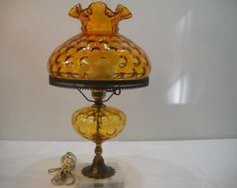 Vintage Amber Bubble Glass Hurricane Glass Lamp With Marble Base From Italy