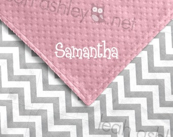 Baby Blanket - Gray Chevron Minky, Medium Pink Minky Dot - BB1