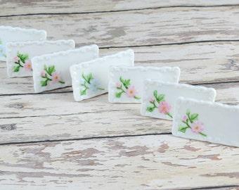 35% OFF B-DAY Sale Vintage Set 7 Rose Porcelain Place Card Holders B6