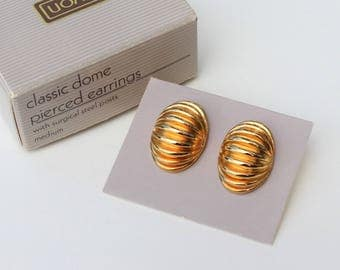 Vintage 1989 Signed Avon Classic Dome Goldtone Glossy Fluted Pleated Oval Modernist Minimalist Pierced Earrings in Original Box NIB