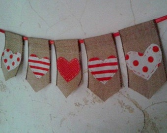 Hearts Banner ... all hand-stitched. Hearts made of fun Strips and polka dot fabric. A fun festive addition to your holiday fun.