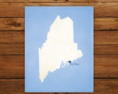 Customized Maine 8 x 10 State Art Print, State Map, Heart, Silhouette, Aged-Look Print