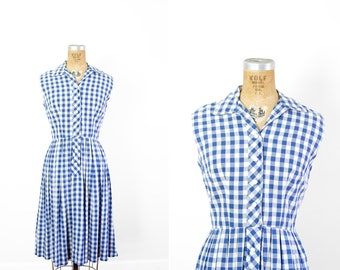 1950 Dress - 50s Dress - Blue And White Checkered Sleeveless Shirtdress