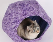 Purple paisley cat cave with two openings - the hexagonal Cat Ball kitty bed is a modern pet bed design