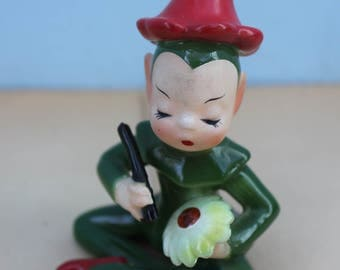 Vintage Ceramic Pixie, Elf, Flower Painting, Josef Original, Japan, Green and Red