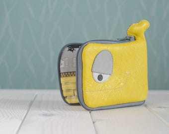 Whale wallet, Cats on rooftops, yellow and gray