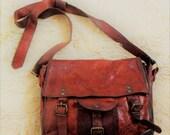 Vintage Distressed Leather Shoulder Bag Messenger Bag