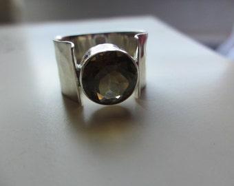 70's Vintage Mexican Sterling Citrine Modernist Ring size 8 signed