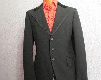 70s Vintage Men's Edwardian Style Velvet Trim Tux Jacket Goth 41 long After Six