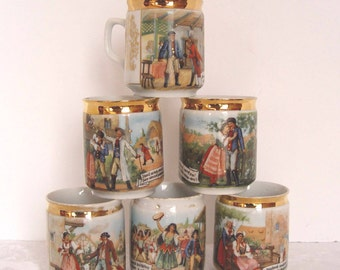 Vintage SET of 6 Czech Czechoslovakia Scene MUGS Cups with Words / Sayings ~ Great for Festive Holiday Serving!