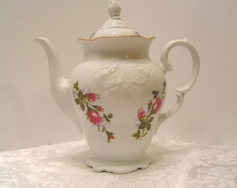 Vintage Royal Kent Poland White & Pink Flowers Coffee Pot or Teapot ~ Embossed Designs ~ Valentine's Day Gift!