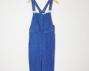 vintage 80s dark wash denim jean overall dungaree pants -- womens medium -- 34x29