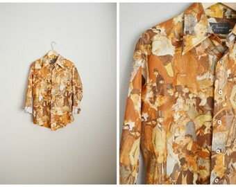 vintage 70s chemise et cie toulouse lauctrec french painting shirt novelty button down -- mens large