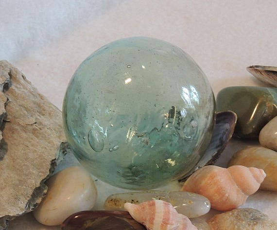 Vintage Japanese GLASS FISHING FLOAT Rare Kanji Makers Seal & Pale Moss Green (# 45)