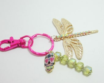 Dragonfly Keychain Rhinestone Dragonfly Key Ring Sugar Skull Pendant Hot Pink Key Ring  Spring Green AB Czech Cathedral Beads 231