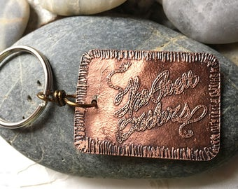 Avett Brothers copper etched keychain tag