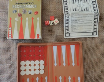 Magnetic Backgammon Game Board Game Vintage games Collectible Games Adult Board Game Camper Glamping Travel Game