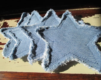 Recycled Denim Star Coasters - Set of 4