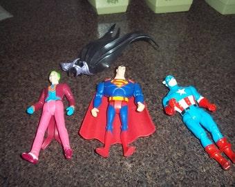 Vintage Superman, Joker, Captain America, Batman Cape only Action Figures