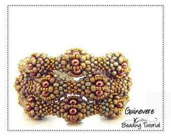 Beading Pattern, Cubic Right Angle Weave, Beaded Balls, Triple Strand Cuff Beading Instructions, DIY Beaded Jewelry Tutorial GUINEVERE CUFF