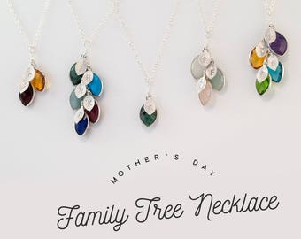 Personalize Mothers gift for grandma - family tree necklace- Mothers Birthstone Necklace - Grandma Necklace - Nana Gift Jewelry