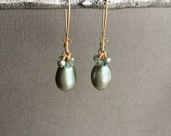 Sage green drop pearl dangle earrings gemstone accents, 14kt gold filled kidney ear wires E183
