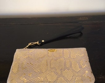 Gold snake print leather  Pouch 4x8 inches