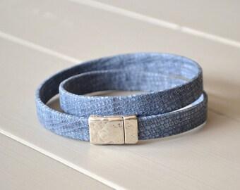 Denim Blue Leather Wrap Bracelet, Faux Snakeskin, Metallic Blue Leather Bracelet, Leather Bracelets