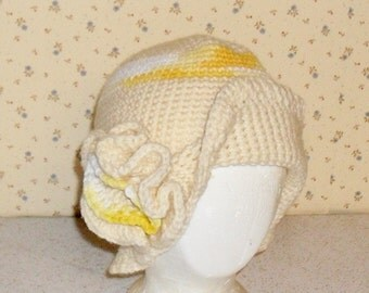 Hand crocheted flower hat