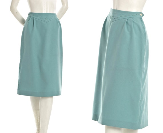 Vintage blue cowgirl pencil skirt with embroidered detail -- 60s / 70s southwestern knee length skirt-- size medium / large