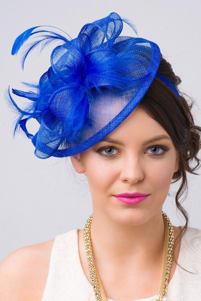 Royal Blue Fascinator Penny Mesh Hat Fascinator