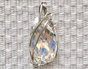 Sterling Silver Irridescent Wire Wrapped Pendant