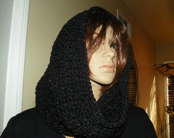 Black  Cowl with Glitter  Neck Warmer Hood   Ready to Ship