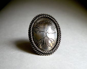 Sterling Domed Ring - Tree of Life