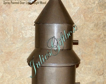 Bird House Duplex - Brown Hammer Painted hanging Birdhouse - Ready To Ship