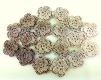 Crochet appliques, 18 small applique flowers