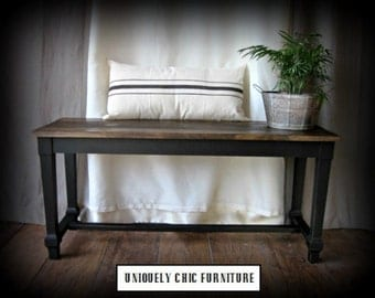 Matte Black Planked Bench~Farmhouse~Dining~Kitchen~SHIPPING isn't Included