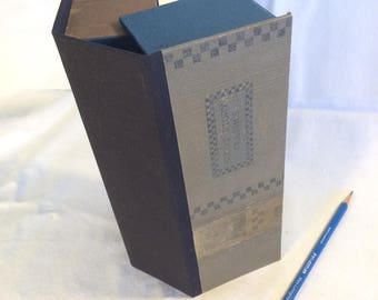 Recycled book cover clamshell - Pencil box,  stash box
