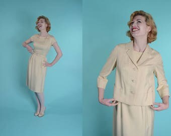 Vintage 1960s Silk Wedding Suit - Beige 3 Piece Dress - Bridal Fashions Size Small