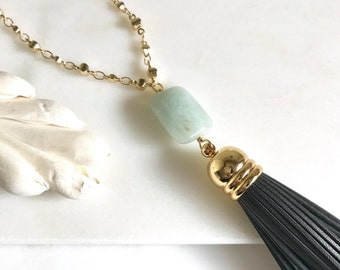 Tassel Necklace. Long Tassel Necklace. Leather Tassel Necklace. Amazonite Stone and Grey Tassel Boho Style Necklace. Long Layering Necklace.