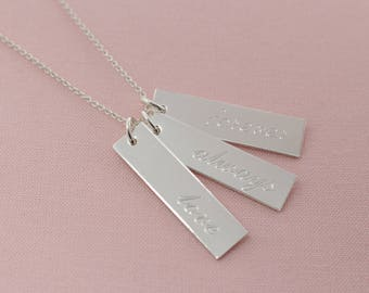 3 Inspirational Engraved Sterling Silver Love Forever Always Necklace-Affirmation, Inspirational, Believe, Faith, Hope, Family, Love, Custom