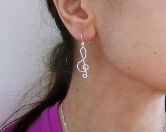 TREBLE CLEF misic note sterling silver wire dangle earrings, girls, women's earrings
