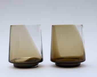 smokey brown tumblers, hand blown glass, set of 2