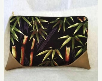 Bamboo print bag//faux leather bag