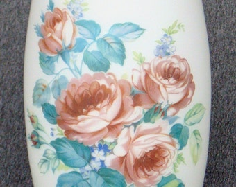 Large Milk Glass Vase With Painted Wild Roses And Gold Rim
