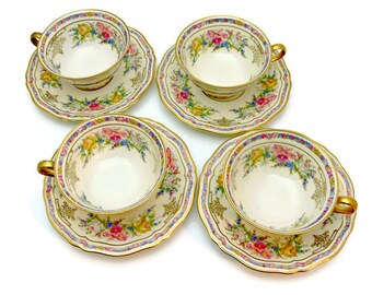 Rosenthal Ivory Bavaria Footed Cups & Saucers - Set of 4 - Evelyn Pattern No. 2778 - Vintage Fine China Made in Germany 1930s