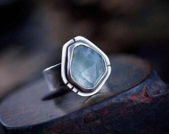 Aquamarine ring, faceted aquamarine ring, freeform aquamarine ring, blue gemstone ring, march birthstone