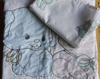 Vintage Nursery Bedding - Baby Bedding Set, Crib Set, Baby Quilted Coverlet, Baby Sheet, Blue Dog and Pink Cat, Neutral Baby Set
