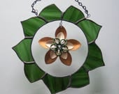 Stained Glass Green Wreath with Scale Maille Deep and Light Bronze Flower - mixed media